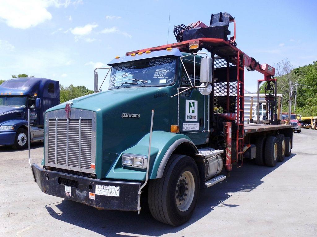 Tri Axle Flatbed : Kenworth t tri axle flatbed crane truck for sale